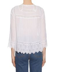 Rebecca Taylor - Multicolor Long-sleeved Cotton-voile Top - Lyst