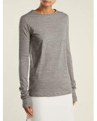 Raey - Gray - Long Sleeved Slubby Cotton Jersey T Shirt - Womens - Light Grey - Lyst
