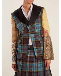 Junya Watanabe - Blue Tartan-checked Contrast-sleeve Wool-blend Jacket - Lyst