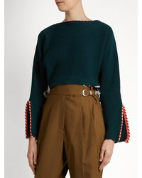 Toga - Green Whipstitch-trimmed Cotton-blend Cropped Sweater - Lyst