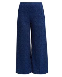 Missoni - Blue Cropped Wide-leg Knit Trousers - Lyst