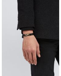 Saint Laurent - Black Leather Bracelet for Men - Lyst