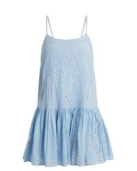 Juliet Dunn - Blue Embroidered Paisley Cut Out Cotton Dress - Lyst