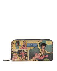 Prada - Multicolor Comic-strip Print Leather Zip-around Wallet - Lyst