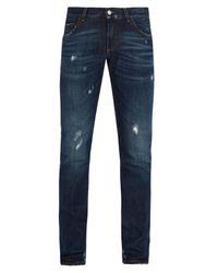 Dolce & Gabbana - Blue Distressed Slim Leg Jeans for Men - Lyst