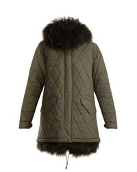 Mr & Mrs Italy - Green Shearling Lined Hooded Cotton-blend Coat - Lyst