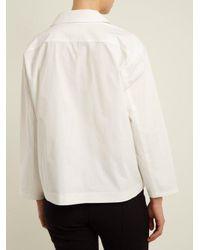 Toga - White Notch-lapel Bead-embellished Jersey Shirt - Lyst