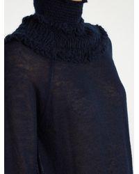 Chloé - Blue Gathered Semi-sheer Sweater - Lyst