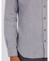 Thom Sweeney - Gray Nehru Collarless Woven-cotton Shirt for Men - Lyst