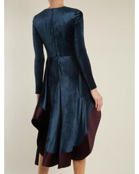 Esteban Cortazar - Blue Square-neck Stretch-velvet Dress - Lyst