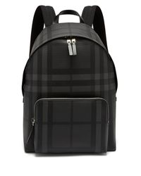 Burberry - Black London Check Pvc Backpack for Men - Lyst
