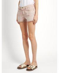 Current/Elliott - Pink The Boyfriend Denim Shorts - Lyst