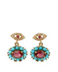 Ileana Makri - Multicolor Diamond, Ruby, Sapphire & Turquoise Earrings - Lyst