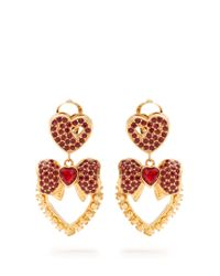 Dolce & Gabbana | Red Heart Drop Crystal-embellished Earrings | Lyst