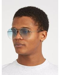 Andy Wolf Blue Anatol Oversized Aviator Sunglasses for men