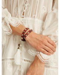 Valentino - Red Rockstud Wrap-around Leather Bracelet - Lyst