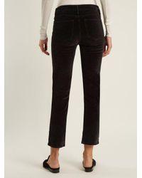 FRAME - Black Le Velveteen Mid-rise Straight-leg Jeans - Lyst