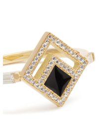 Azlee - Metallic Eclipse Diamond, Enamel & Yellow-gold Ring - Lyst
