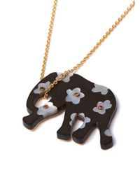 Marc Alary - Metallic Elephant 18kt Gold, Ebony & Sapphire Necklace - Lyst