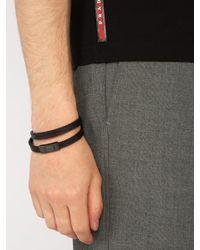 Prada - Black Double-wrap Leather Bracelet for Men - Lyst