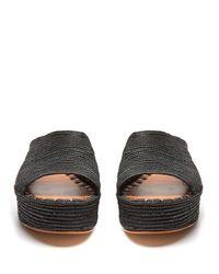 Carrie Forbes Black Karim Raffia Flatform Sandals