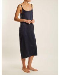 Asceno - Blue Scoop-neck Sandwashed-silk Nightdress - Lyst