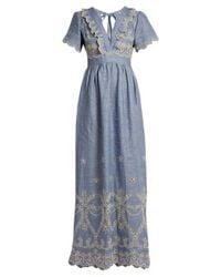 Luisa Beccaria - Blue V-neck Broderie-anglaise Linen-blend Dress - Lyst