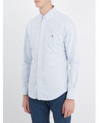 Polo Ralph Lauren - Blue Logo-embroidered Cotton-oxford Shirt for Men - Lyst