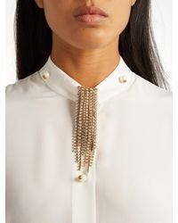 Lanvin - Metallic Crystal-embellished Fringed Brooch - Lyst