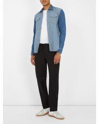 Maison Margiela - Blue Contrast-panel Denim Shirt for Men - Lyst