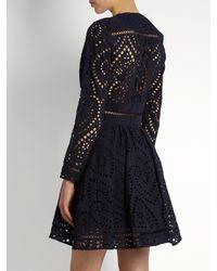 Zimmermann - Blue Ryker Broderie-anglaise Cotton Dress - Lyst