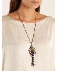 Etro - Metallic Embellished Tassel-drop Necklace - Lyst