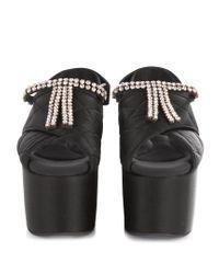 Marni - Black Crystal-embellished Quilted Flatform Sandals - Lyst