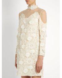 Huishan Zhang - White Petal Guipure-lace Dress - Lyst