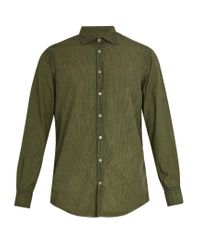 Massimo Alba - Green Point-collar Striped Cotton Shirt for Men - Lyst