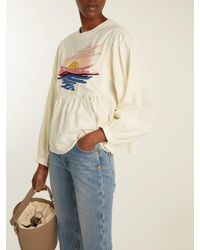 Bliss and Mischief - White Sunset-embroidered Long-sleeved Cotton Blouse - Lyst