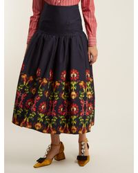 Stella Jean - Multicolor Floral Print Gathered Cotton Blend Midi Skirt - Lyst