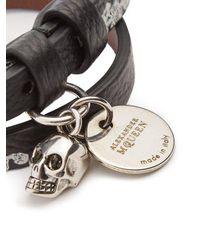 Alexander McQueen - Black Skeleton-print Double-wrap Leather Bracelet for Men - Lyst