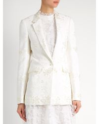 Givenchy - White Floral-embroidery Stretch-crepe Jacket - Lyst