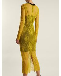 Diane von Furstenberg - Yellow Long-sleeved Bead-embellished Lace Dress - Lyst