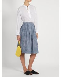 Vince - Blue Striped Cotton Skirt - Lyst