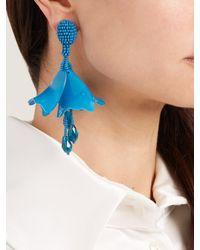 Oscar de la Renta - Blue Mini Impatiens Clip On Earrings - Lyst
