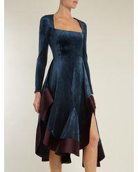 Esteban Cortazar - Blue Square-neck Stretch-velvet Dress - Lyst