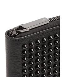 Christian Louboutin - Black Panettone Spike-embellished Square Leather Wallet - Lyst