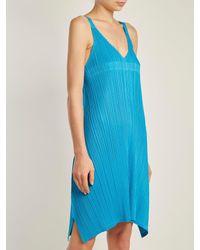 Pleats Please Issey Miyake - Blue Pleated V-neck Dress - Lyst