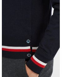 Moncler - Blue Contrast-striped Cashmere And Silk-blend Sweater for Men - Lyst