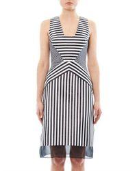 Richard Nicoll - Black Contoured-striped Jacquard Dress - Lyst