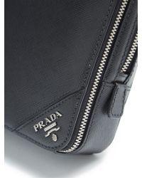 Prada - Black Logo-plaque Saffiano-leather Pouch for Men - Lyst