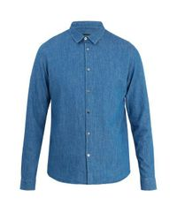 A.P.C. - Blue Point-collar Denim Shirt for Men - Lyst