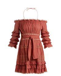 Zimmermann Pink Corsair Off-the-shoulder Ruffled Cotton Dress